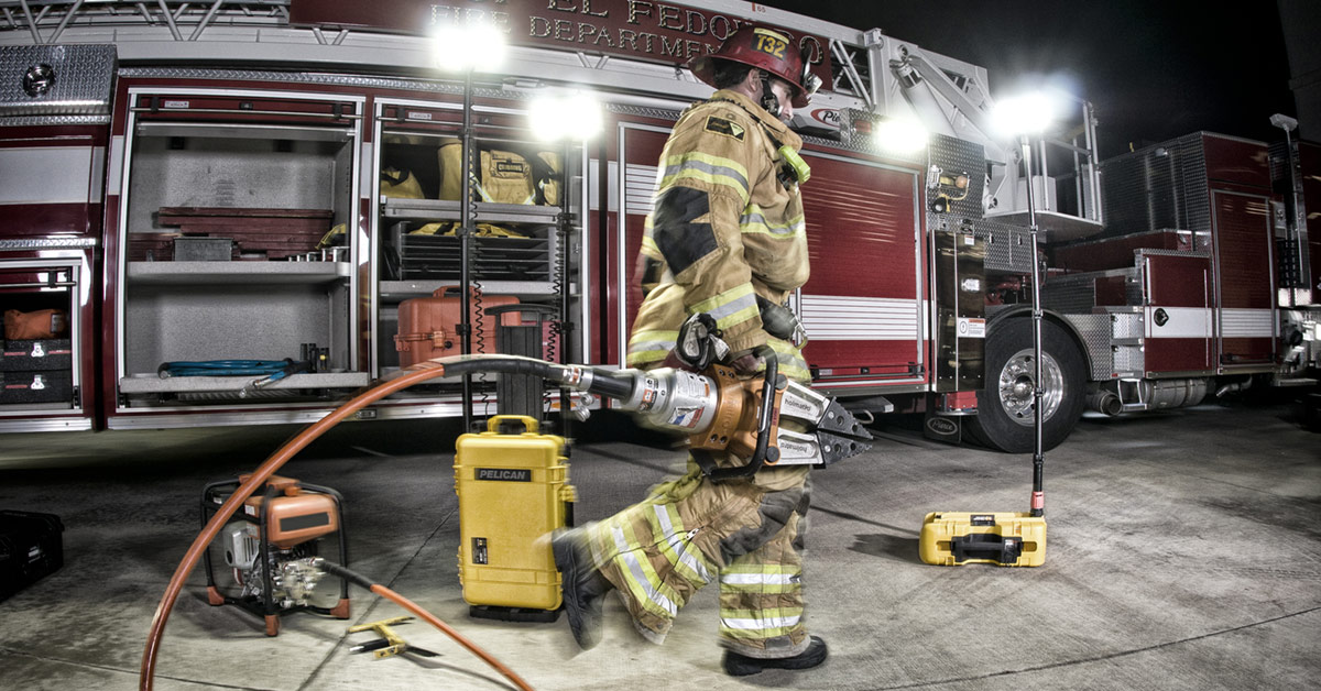 pelican firefighter rescue cases remote lights