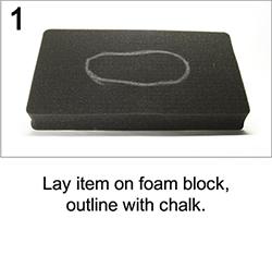 peli foam block outline
