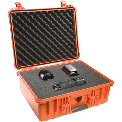 pelican orange hard waterproof camera case