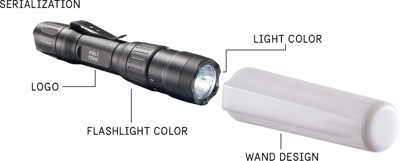 peli products custom flashlights 7600 police flashlight wand